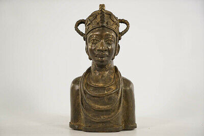 "Attractive Benin Bronze Female Bust 9"" - Nigeria - African Art"