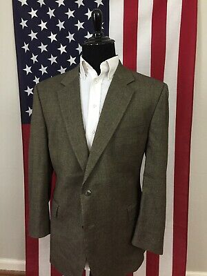 48R Jos A Bank Wool Taupe Brown Two Button grey Suit Blazer Sport Coat mens 1304