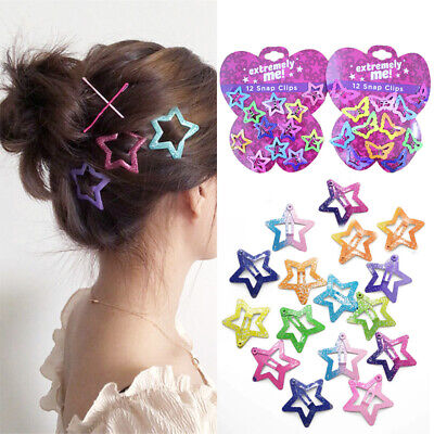 12PCS/Set Kids Barrettes Girls' BB Clip Candy Color Hair Clips Accessories New