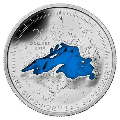 2014 Canada $20 Lake Superior 1 oz Pure Silver Enameled Great Lakes Series #1