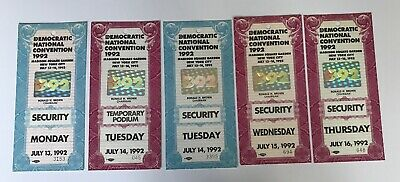 Set of 5 1992 Democratic National Convention MSG Security Passes w/ Hologram