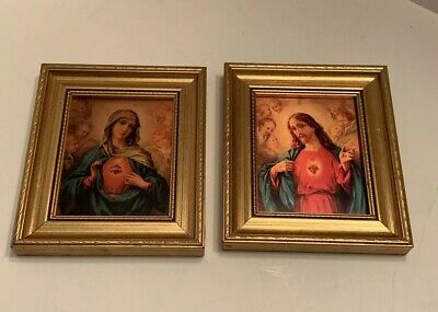 The Sacred Hearts Of Jesus And Mary Gilt Framed Pictures Made In Italy