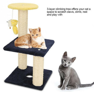 3 Layer Cat Climbing Tree Scratching Post Board and Hanging Pet Activity Center