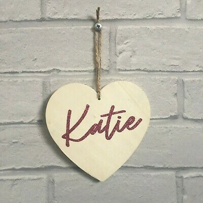 Personalised Name Wooden Heart Shaped Plaque Real Glitter Font 13cm x 13cm