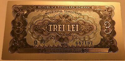 ROMANIA 3 LEI 1952 BLUE SERIAL rare superb polymer silver plated banknote