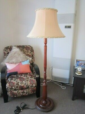 Lovely Vintage Retro Timber Standard Floor Lamp with Beautiful Shade