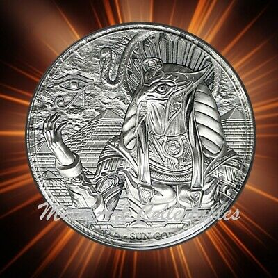 2018 RA SUN GOD 3 oz ANTIQUED 0.999 SILVER COIN ANCIENT GODS EGYPT Cook Islands