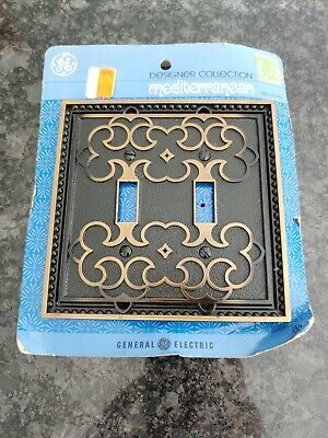 Vintage GENERAL ELECTRIC Brass Metal 2-Gang Toggle Switch Wall Plate