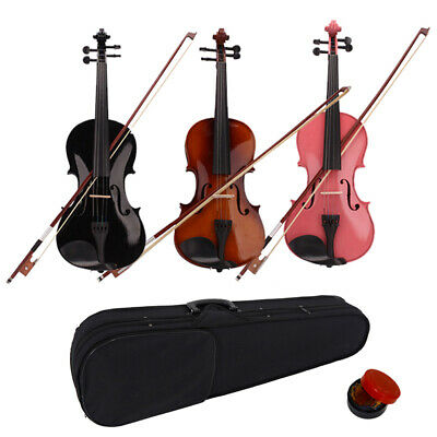 New Full Size 4/4 Acoustic Violin Fiddle with String Bow Case Rosin for Beginner