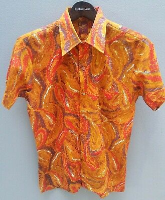 VINTAGE 70's MENS Shirt Sz S Physchodelic Swirl VIBRANT Print Party ORIGINAL 🔥
