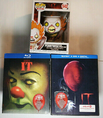 IT (2017) Blu-ray+Digital & IT 1990 WITH LENTICULAR SLIP COVERS+Funko Pennywise