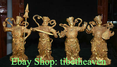 """12"""" Old China Copper Gold Feng Shui Four Heavenly Kings Door-god Statue Set"""