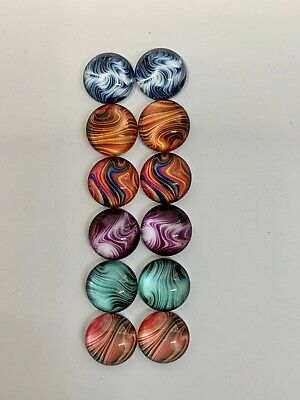 6 Pairs Of 12mm Glass Cabochons #651