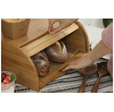 Betwoo Natural Wooden Roll Top Bread Box Bamboo Kitchen Food Storage (Standard