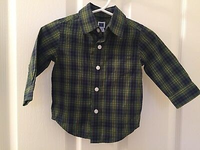Janie and Jack Boys Green Blue Yellow Plaid Button Down Dress Shirt 3-6 Months