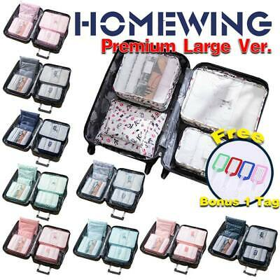 6Pcs Packing Cubes Travel Luggage Pouch Storage Bag Organiser Clothes Suitcase