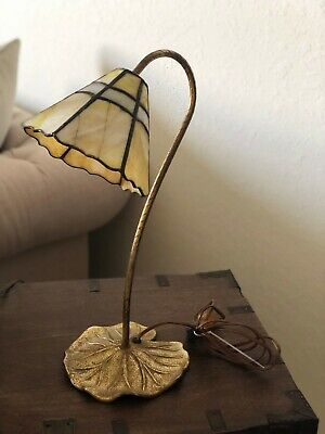 Vintage Desk Lamp with Colored Acrylic Lampshade and a Metal Petal Base