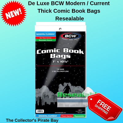 100 BCW Current Modern/Current Comic Resealable Thick Poly Bags Sleeves Holders