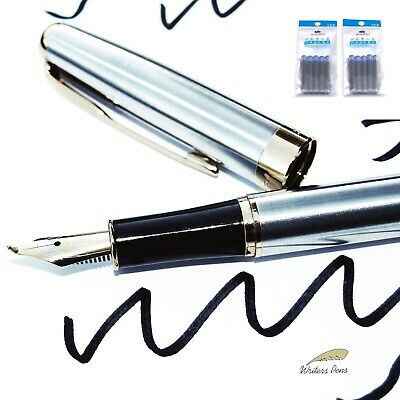 Calligraphy Fountain Pen Stub Italic Broad Nib Drawing  + 10 BLUE Cartridges NEW