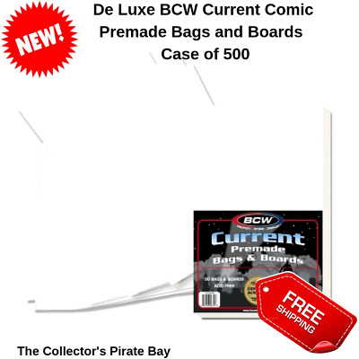 500 BCW Premade Resealable Current Comic Storage Bags Sleeves and Backer Boards