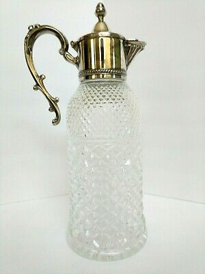 Silver-Plated & Crystal Claret Bottle Decanter LEONARD Italy 48oz capacity