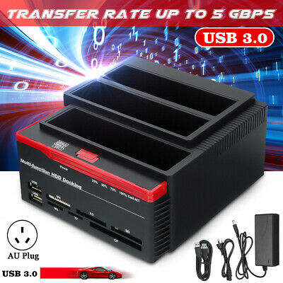 "External Triple SATA IDE HDD Docking Station USB 3.0 2.5""/3.5"" Hard Drive Reader"