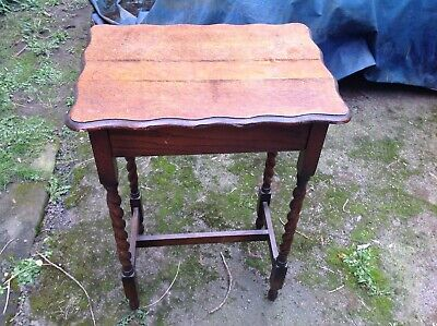 Antique Oak Pie Crust Occasional Table Plant Stand Telephone Barley Twist Legs