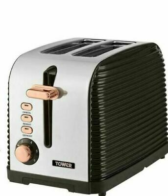 NEW Tower Linear Kettle and Two-Slice Toaster in Rose Gold and Black Colour
