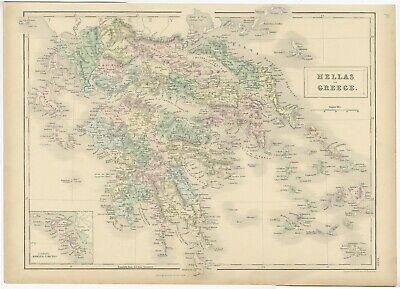 Antique Map of Greece and Corfu by Black (1854)