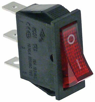 Rocker Switch Mounting Measurements 30X11Mm Red 1No/Indicator Light 250V 16A 0-I