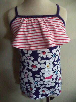 Jumping Beans Summer Dress Size 4T Red White & Blue Floral Cotton NWT