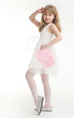 Girls Summer Tights Sheer White Delicate Pattern Liwia Knittex