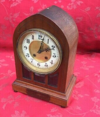 Stunning H.A.C Edwardian Mahogany Steeple Type Mantel Clock For Restoration