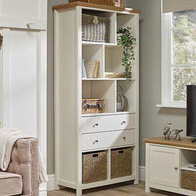 Krish Cotswold Cream Painted Large Tall Bookcase with 2 Drawers - with 2 Baskets