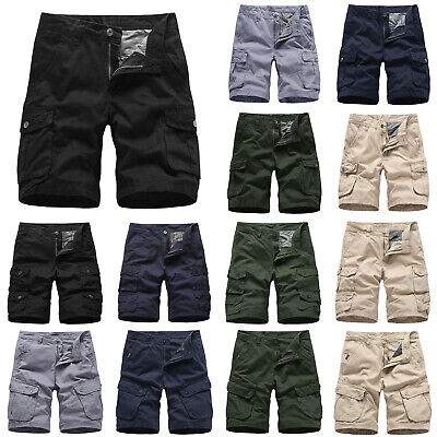 Mens Cargo Combat Shorts Trousers Army Military Camping Multi Pockets Half Pants
