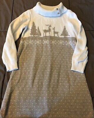 Janie & Jack Sz 5 Girls Winter Deer Cream Tan Brown Sweater Dress EUC