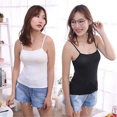 Women Solid Color O-Neck Spaghetti Strap Sleeveless Tank Top Underwaist Camis Vy