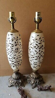 """Mid Century 22"""" Hollywood Regency L & L WMC Hand Painted Egg Shell and Spelter"""