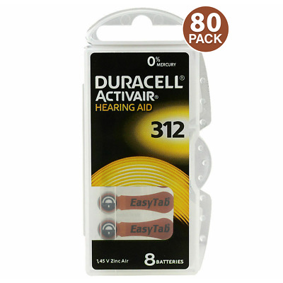 Duracell Size 312 Hearing Aid Battery, 10 x 8 Packs Closeout Sale (80 Batteries)