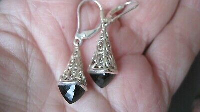 Beautiful Sterling Silver Filigree Faceted Black Stone Dangle Earrings