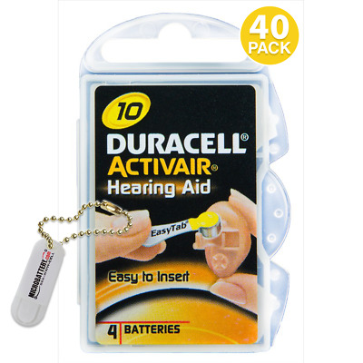Duracell Size 10 Hearing Aid Battery, 10 x 4 Packs Closeout Sale (40 Batteries)