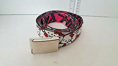 """Hello Kitty """" Black Pink White Animated Character Buckle Down"""" Belt"""