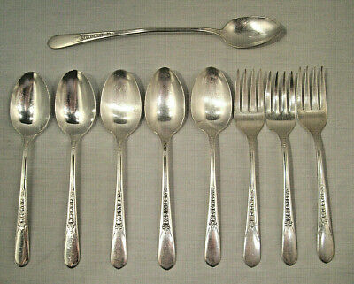 "Silver Plate ""Priscilla aka Lady Ann"" 1941  9pcs  by Wm. Rogers  FREE SHIPPING"