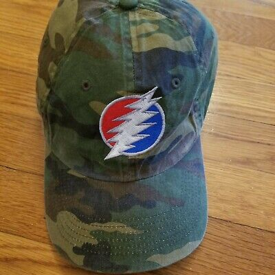 Grateful Dead Steal Your Face Camouflage 100% Cotton Ball Cap Olive Blk Tan VGC