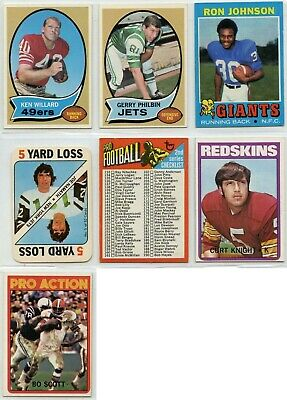 1970 1971 1972 Topps Football 13/$2 LOT YOU PICK SINGLES COMPLETE YOUR SET 2/18