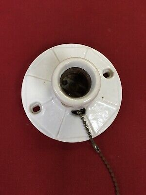Vintage  Porcelain Ceiling Light Fixture Pullchain Art Deco Steampunk