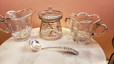 ANTIQUE 4 PIECES and SPOON STERLING SILVER OVERLAY RIM FLORA TEA SET.