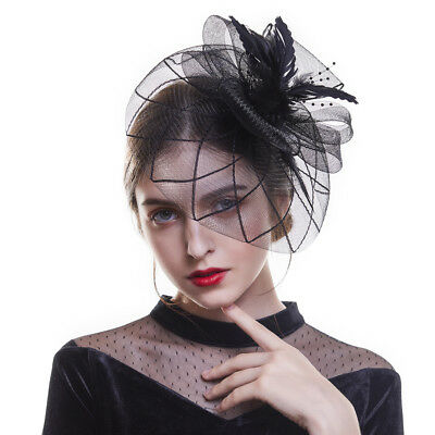 Black Hair Clips Fascinator Headband Wedding Hats Ladies Day Race Royal Ascot