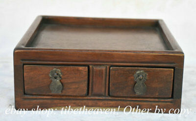 "8"" Old China Huanghuali Wood Hand-carved Dynasty Palace Smoke Drawer Pipe Box"