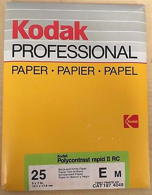"NOS Vintage Kodak Polycontrast Rapid II RC ""5x7"" Paper, New & Unopened 25 Pack"